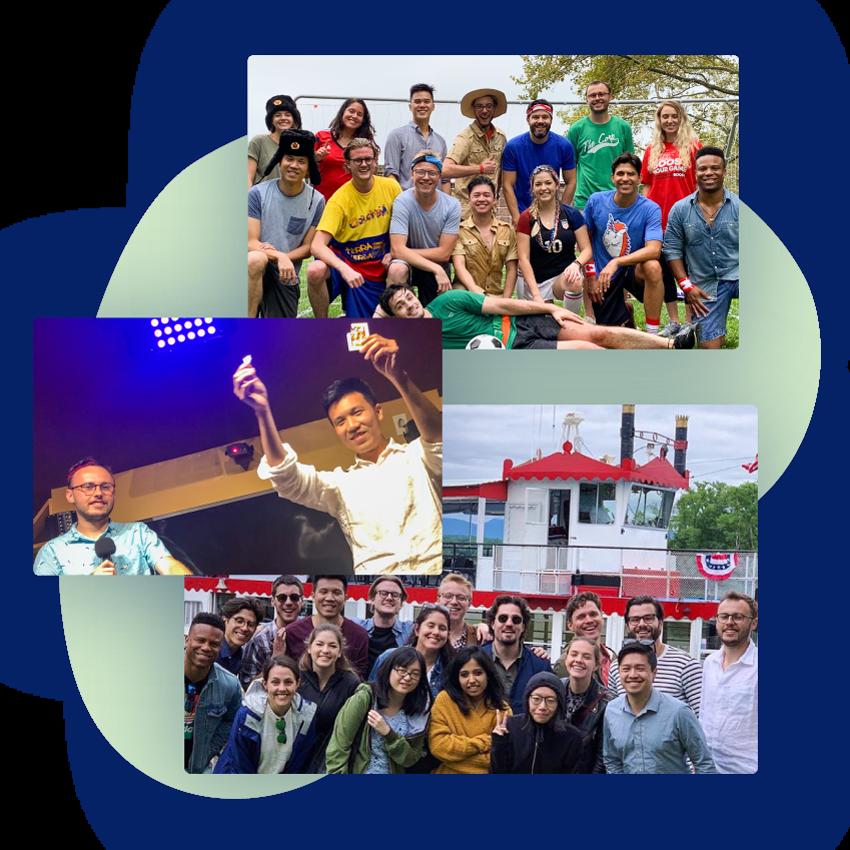 Photographs of the ThankView team on company retreats